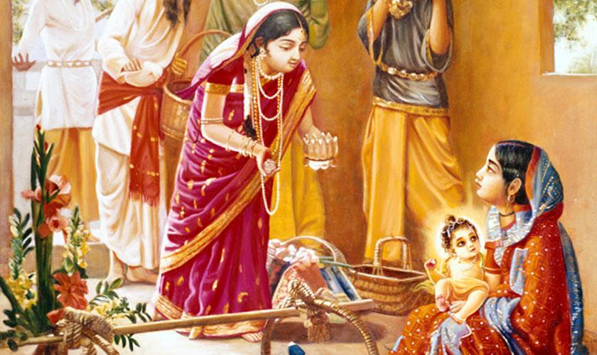 Chaitanya Prabhu with his Mother Srimati Shachi Devi