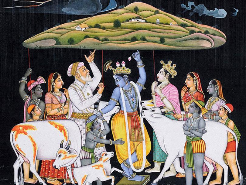 krishna lifiting govardhana hill