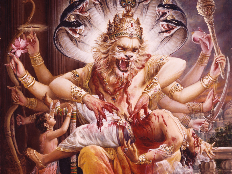 narasimha killing hiranyakashipu prahlada garlanding the lord