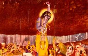 krishna at govardhan hill