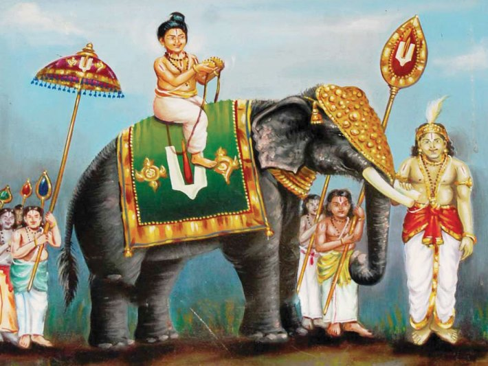 periyazwar being taken on elephant back by the pandya King