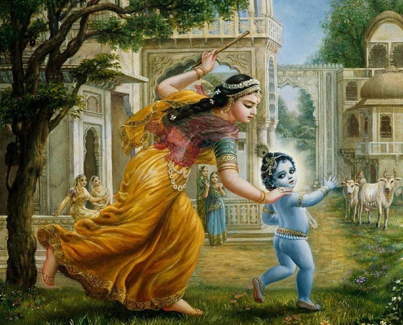 lord krishna and balaram being caught by mother yashoda for stealing butter