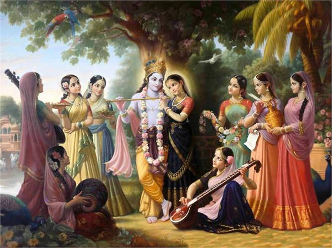 Radharani with the gopis
