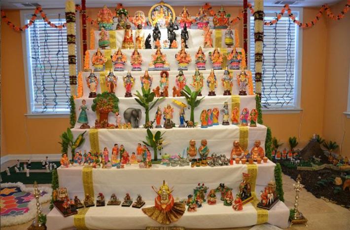 display of dolls depicting various events form puranas