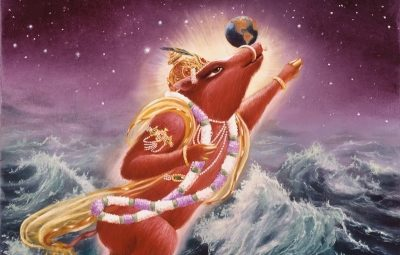 Lord Brahma was thinking of how to lift the earth which was submerged in water