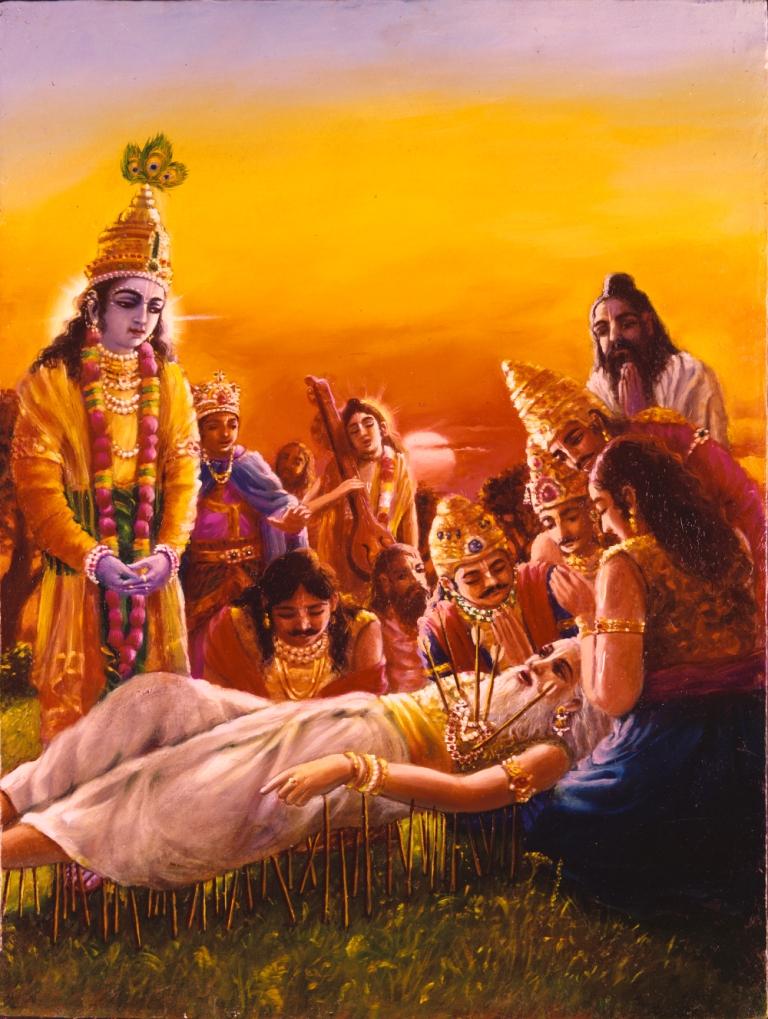Bhismadeva-lying-on-bed-of-arrows