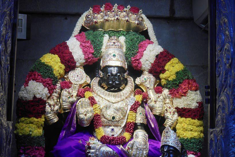 Lord Narasimha beautifully adorned on Narasimha Jayanti