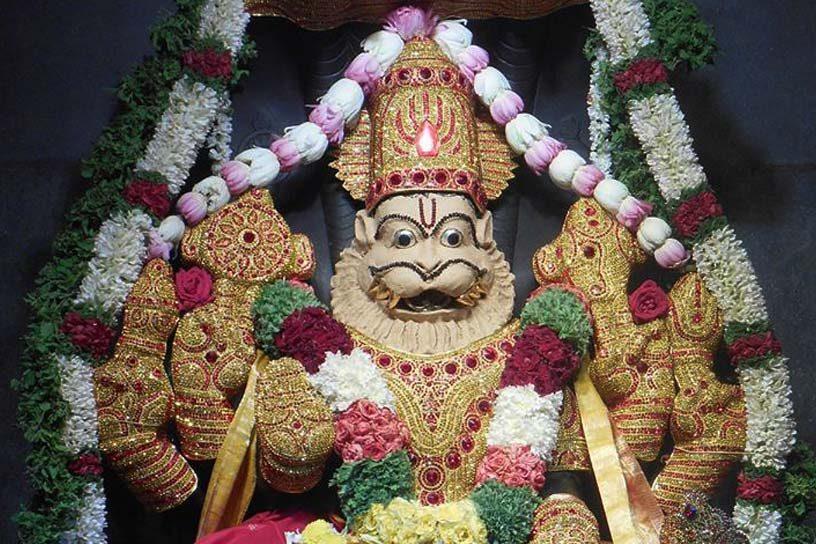 Lord Narasimha in Chandana Alankara