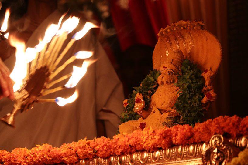 A grand arati to Lord Narasimha