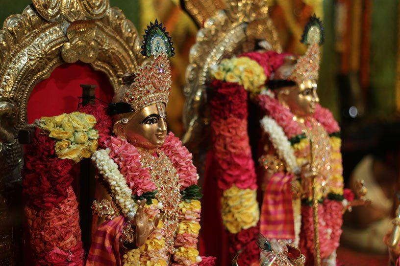 Giridhari Krishna lifting Govardhana