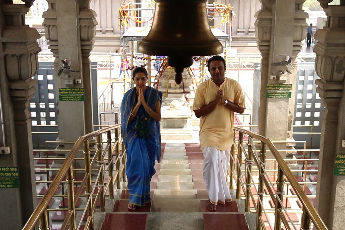 Devotees entering temple