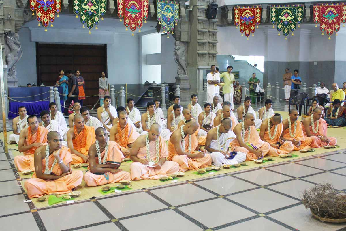 Temple devotees taking Diksha