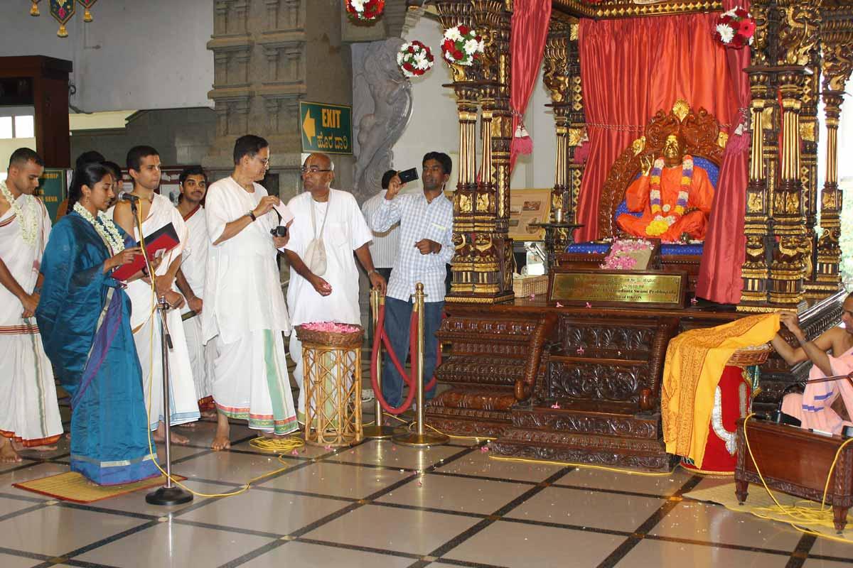 Devotee taking oath before Srila Prabhupada