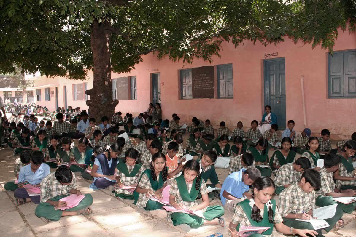 Children taking Krishna contest exam