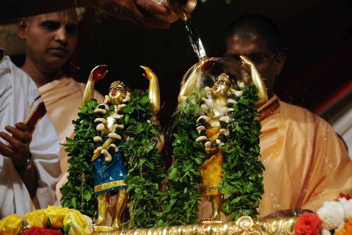 Sri Nitai Gauranga receiving Kalasa abhisheka