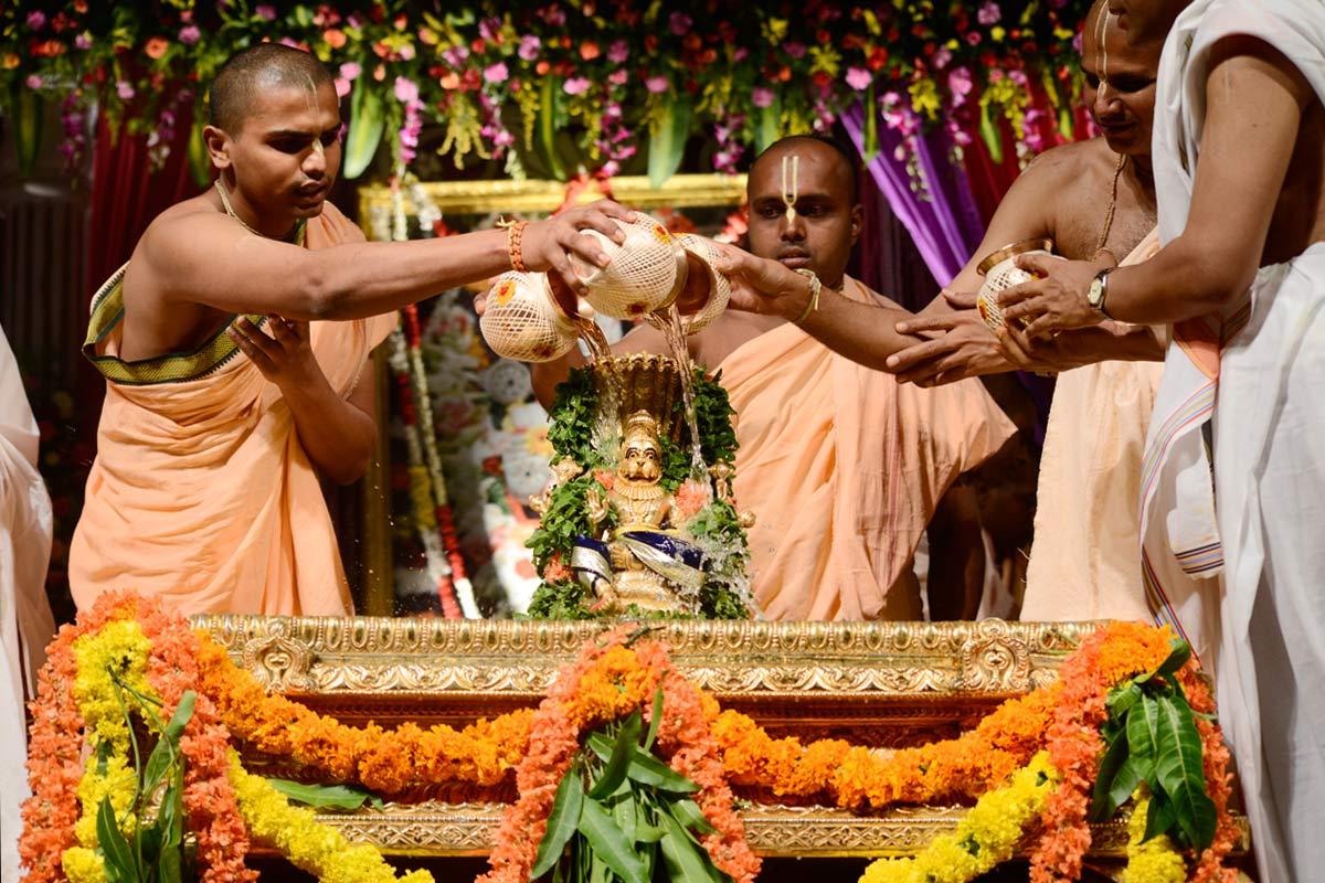 Abhisheka to the Utsava Deity of Lord Narasimha