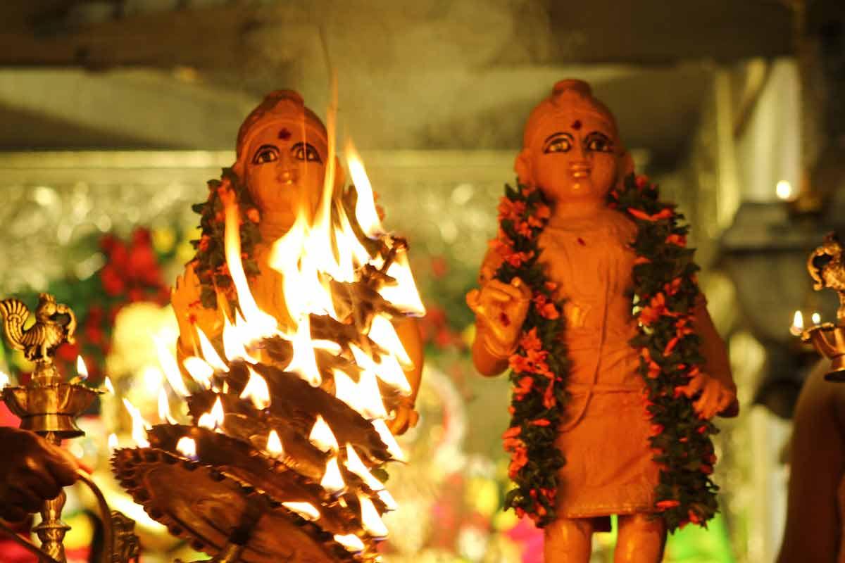 Sri Krishna and Balarama receiving Arati