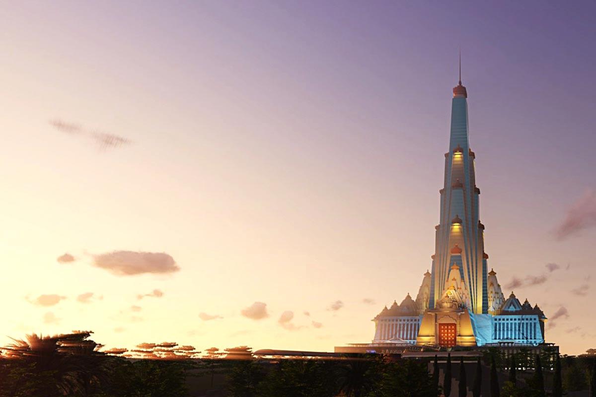 Skyscraper temple for Krishna