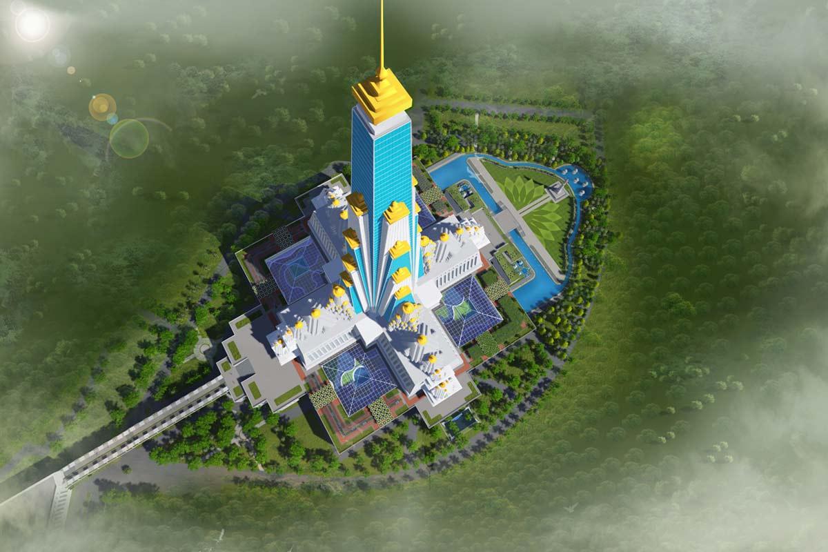 Vrindavana Chandrodaya Mandir – Aerial view