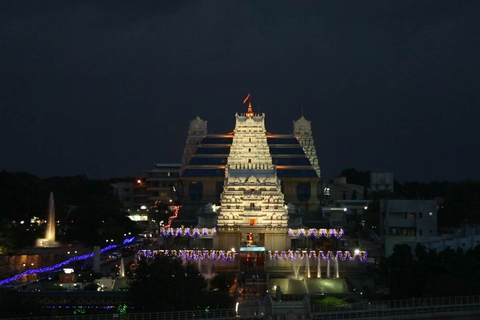 Night View of Iskcon Bangalore Temple