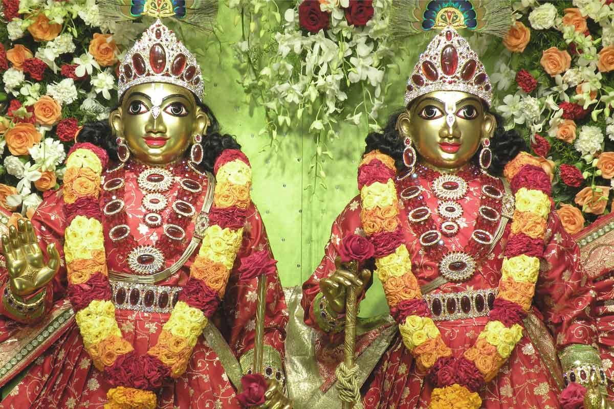 Sri Sri Krishna Balarama in red dress