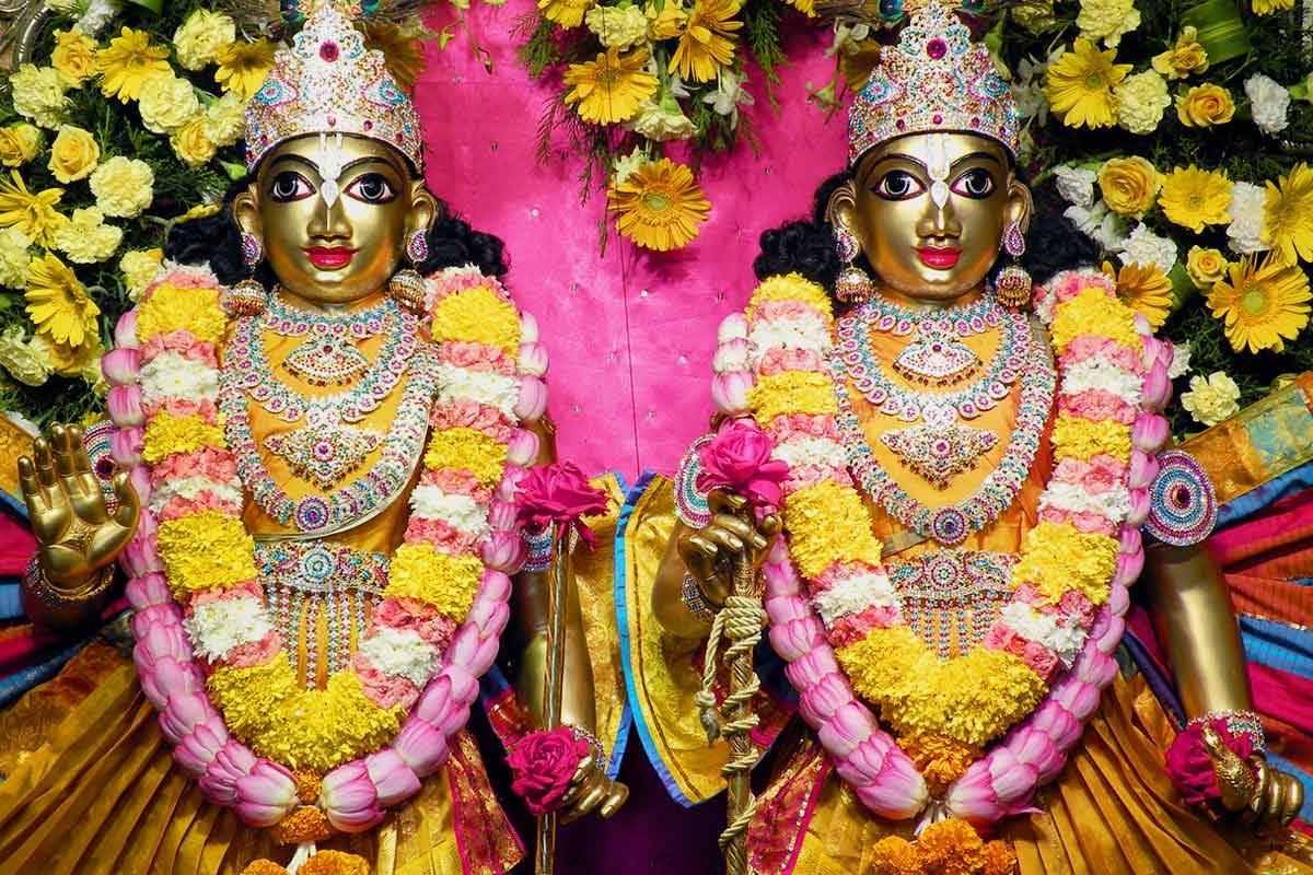 Sri Sri Krishna Balarama in yellow dress