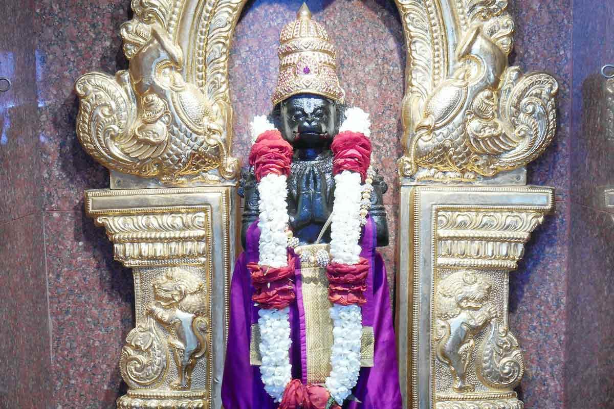 Sri Hanuman in violet dress