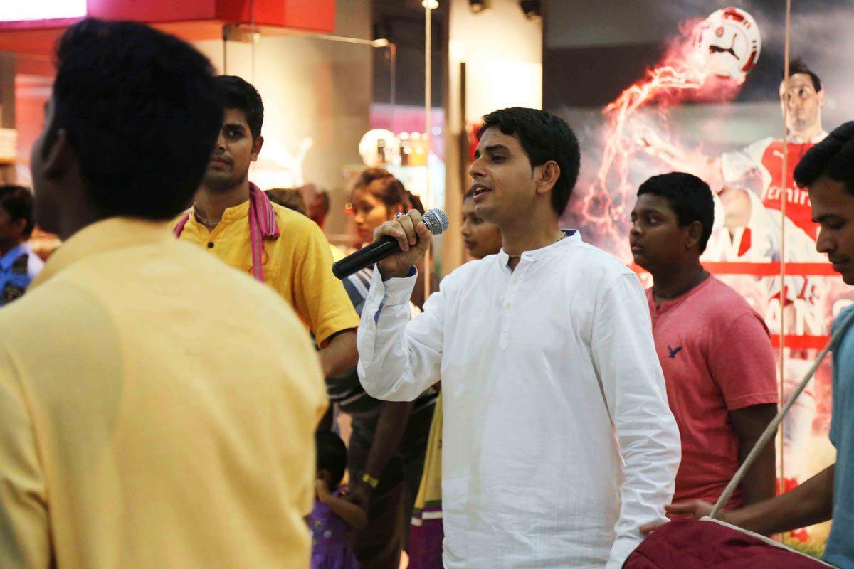 Devotees singing kirtan