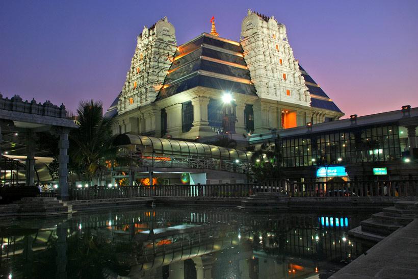 Night view of ISKCON Bangalore