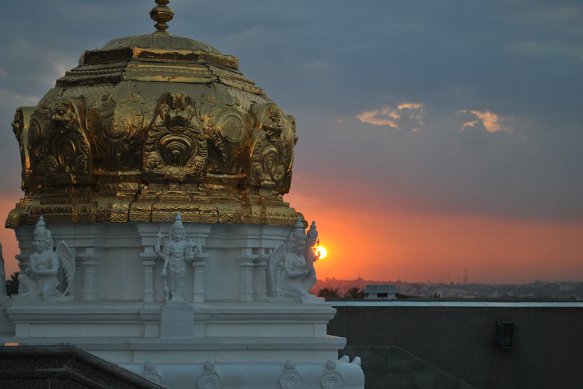 Sunset view of ISKCON Temple