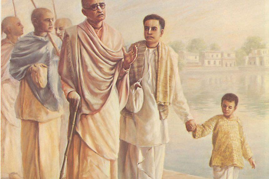 srila prabhupada getting instruction from his spiritual master